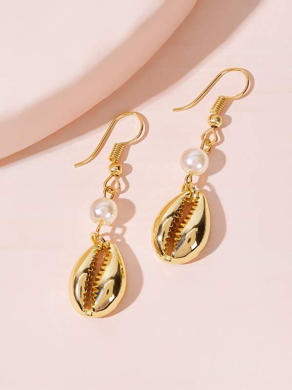 Faux Pearl Decor Shell Drop Earrings 1pair, null