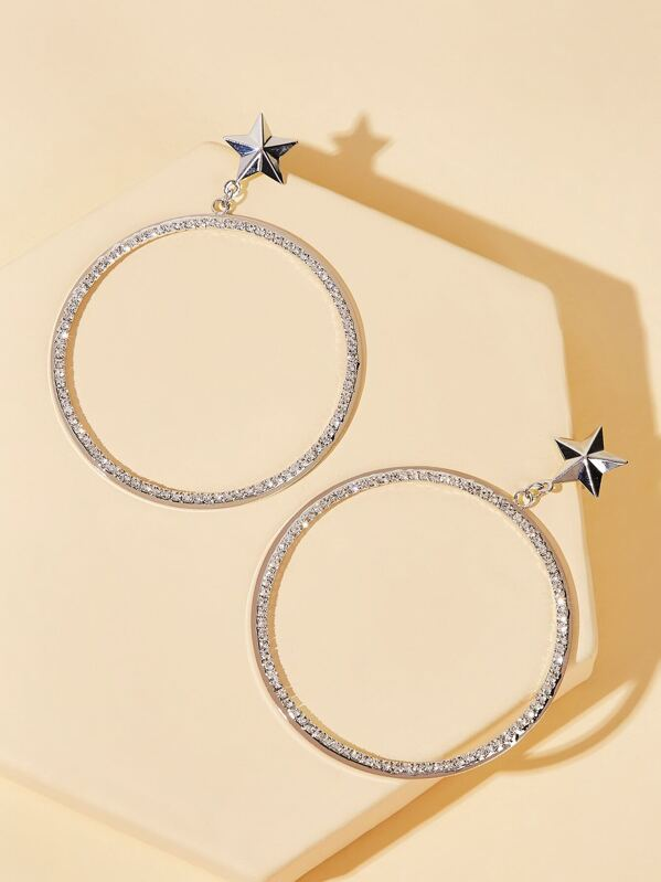 Star Decor Oversized Hoop Earrings 1pair, null