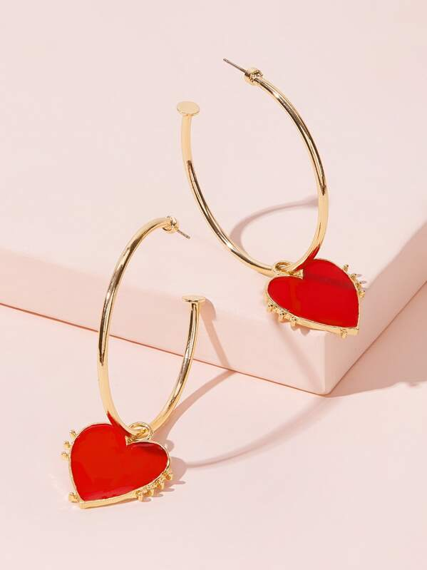 Ring Heart Drop Earrings 1pair, null