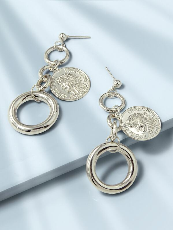 Coin & Link Drop Earrings 1pair, null