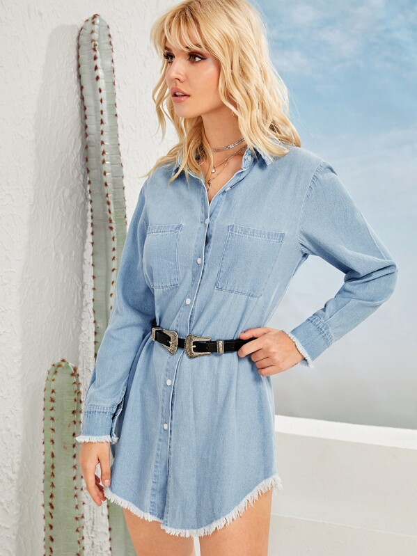 Raw Hem Denim Blouse Without Belted, Tasha