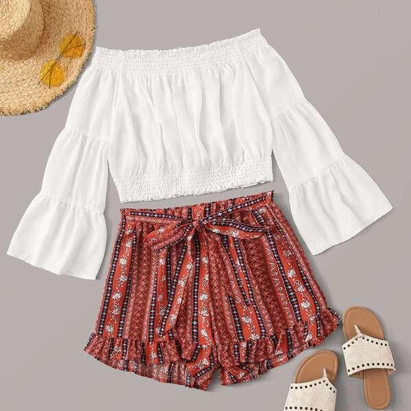 Shirred Bardot Top & Tribal Print Belted Shorts, Multicolor