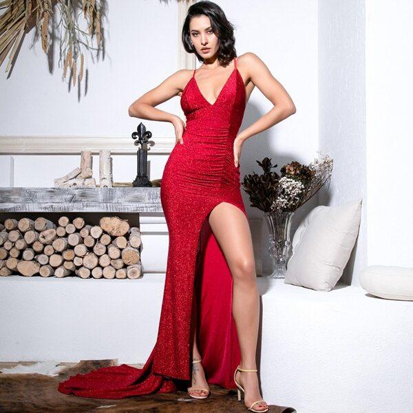 LOVE&LEMONADE Criss-cross Backless Split Thigh Glitter Maxi Slip Dress, Red