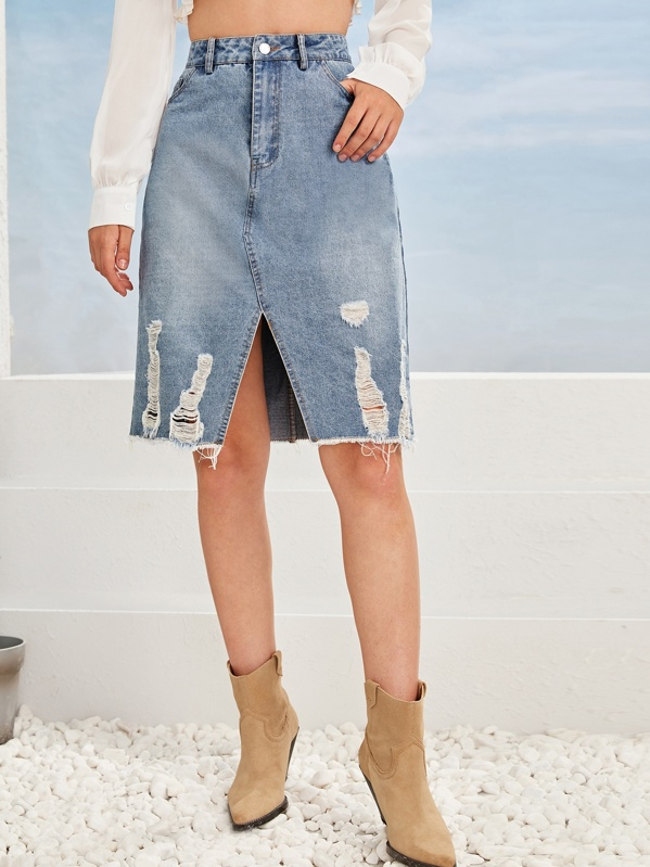 Ladder Distressed Raw Hem Slit Front Denim Skirt, Tasha