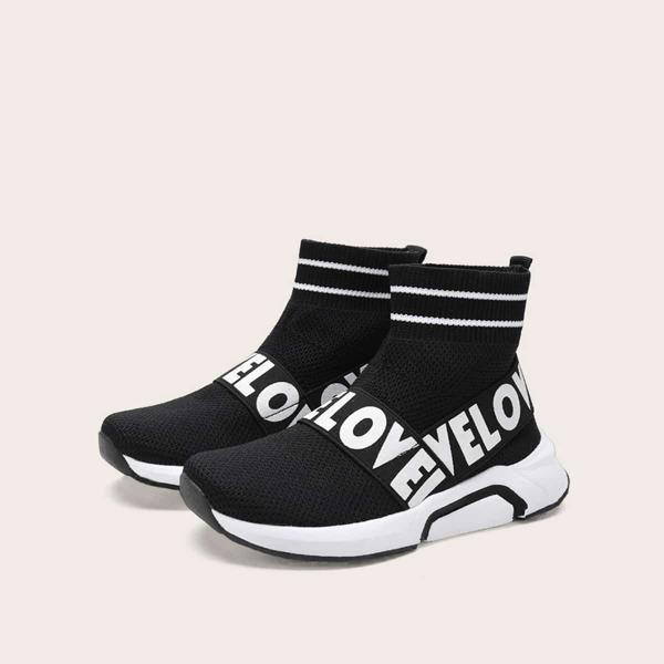 Toddler Boys Random Letter Print Slip On Sock Sneakers