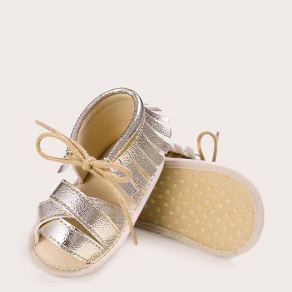 Baby Girls Metallic Fringe Trim Sandals