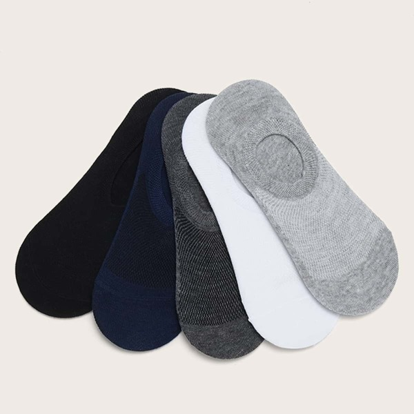 Men Solid Invisible Socks 5pairs