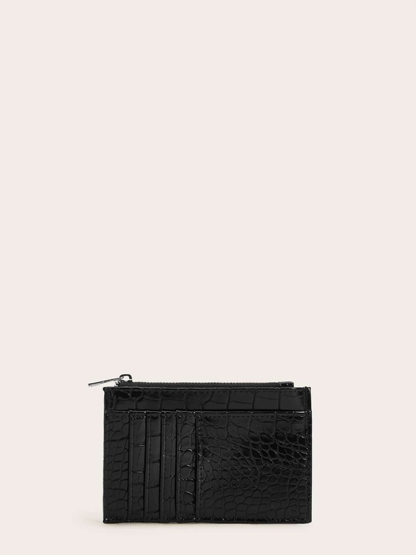 Croc Embossed Purse With Card Holder, Black