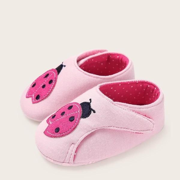 Baby Girls Ladybug Embroidered Flats