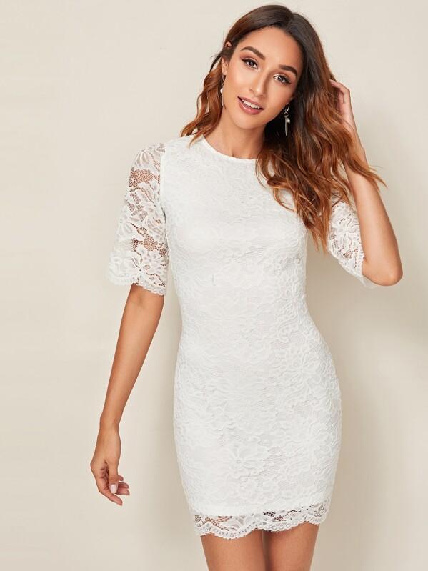 Floral Lace Overlay Pencil Dress, Gabi B