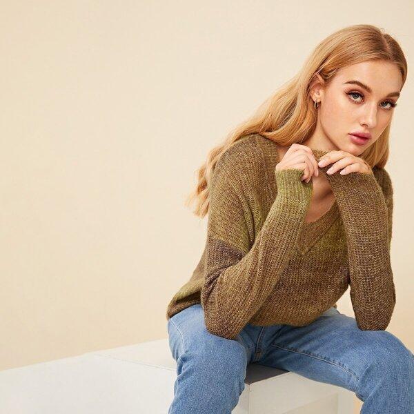 Drop Shoulder V Neck Ombre Sweater