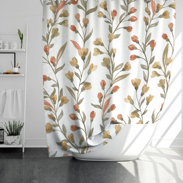 Flower Print Shower Curtain With 12hooks