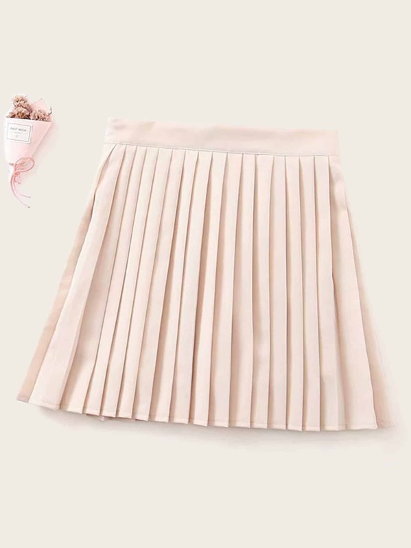 Zip Side Solid Pleated Skirt, null