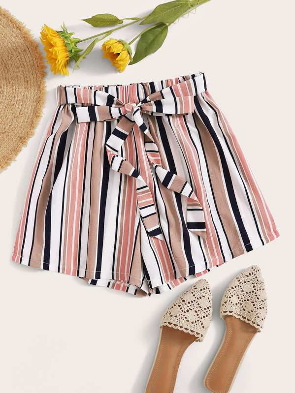 Colorful Striped Self Tie Shorts, null