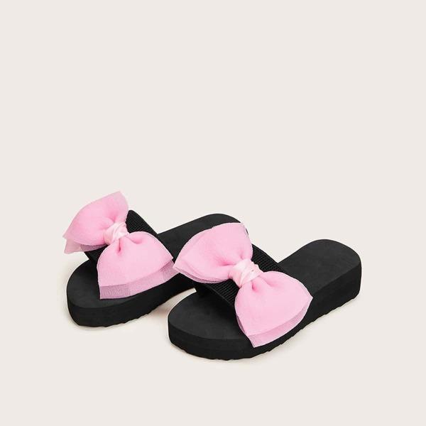 Toddler Girls Bow Decor Flat Sliders