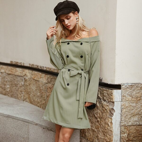 Simplee Striped Double Button Belted Bardot Blazer Dress