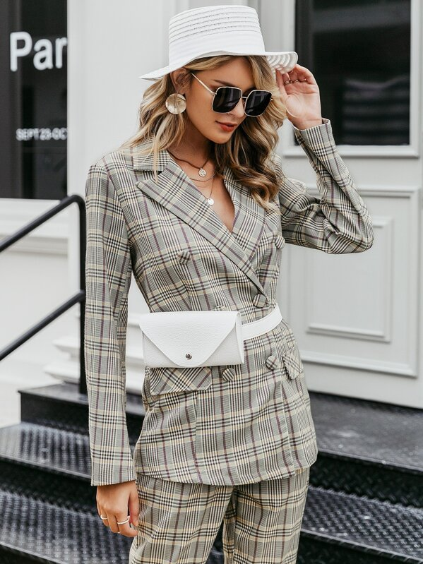 Simplee Plaid Print Double Breasted Blazer