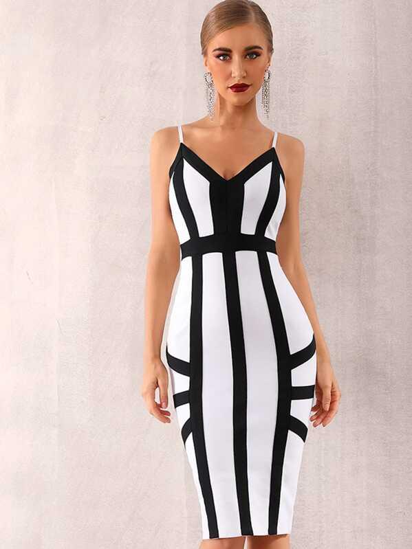 Adyce Contrast Trim Slit Hem Bandage Slip Dress