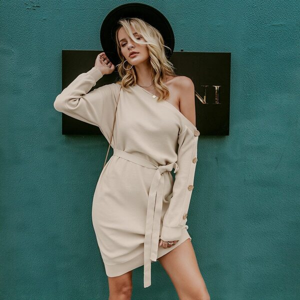 Simplee Asymmetrical Neck Buttoned Sleeve Belted Sweater Dress
