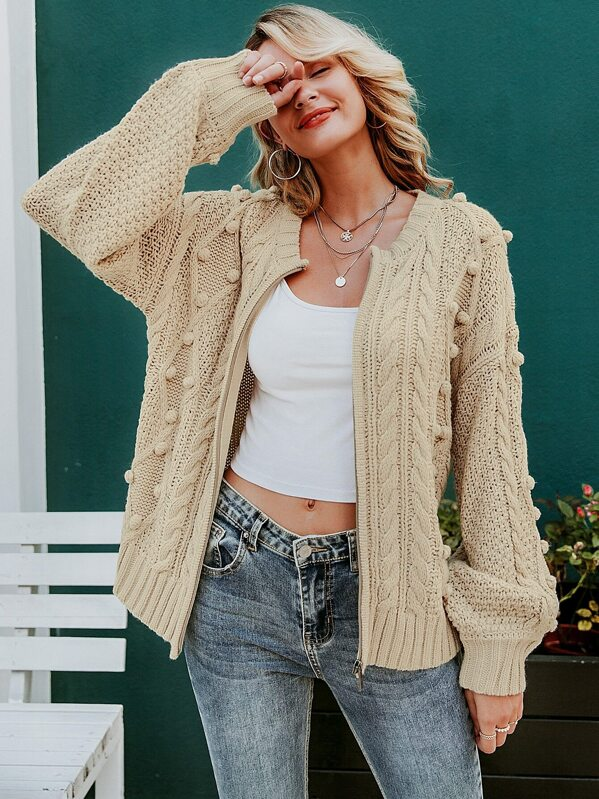 Simplee Pompom Detail Cable Knit Sweater Cardigan