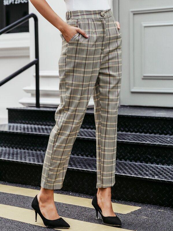 Simplee Plaid Print Tailored Pants