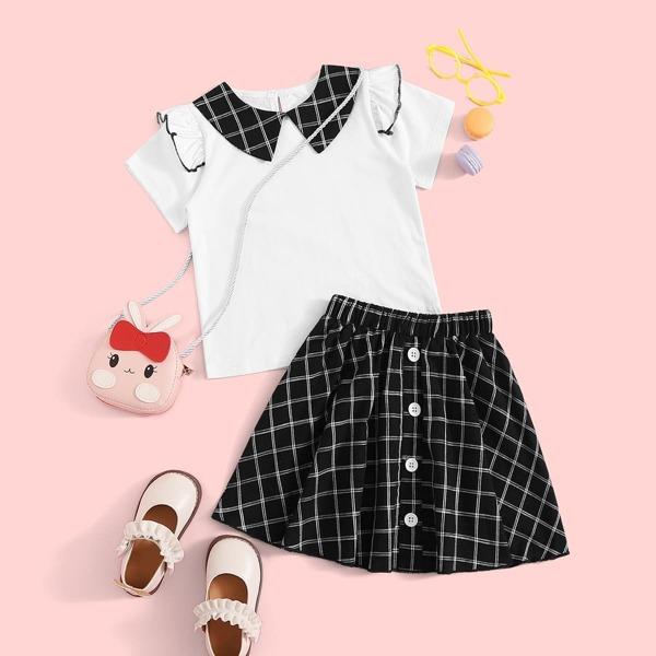 Toddler Girl Peter Pan Collar Ruffle Trim Top With Button Up Plaid Skirt
