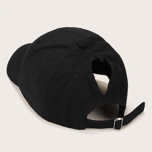 Hollow Out Decor Baseball Cap, Black