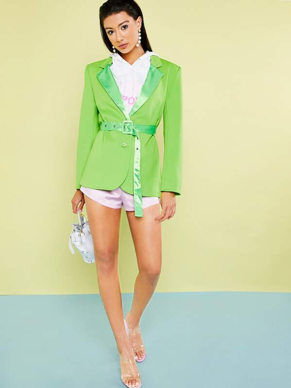 Neon Green Notch Collar Blazer With Satin Belt, Kiele Montgomery