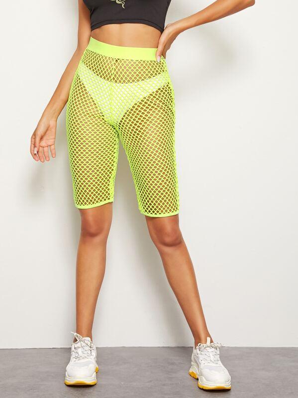 Neon Yellow Fishnet Leggings, Mary P.