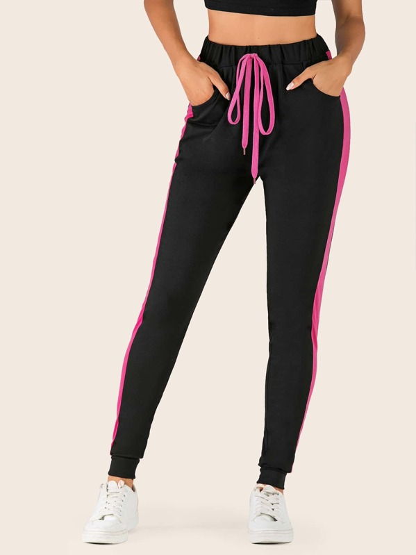 Contrast Side Drawstring Waist Skinny Sweatpants, Juliana