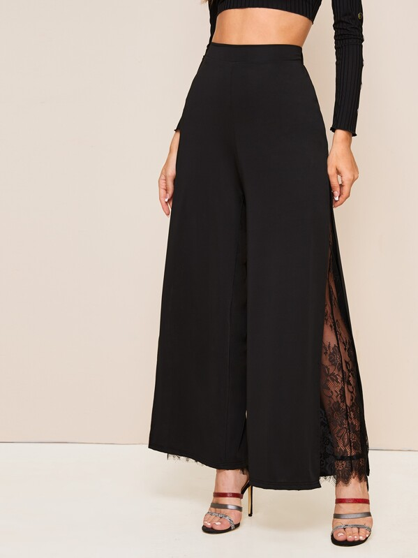 Lace Insert Split Thigh Wide Leg Pants, Na na