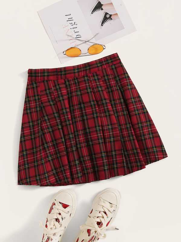 Tartan Print Mini Skirt, null