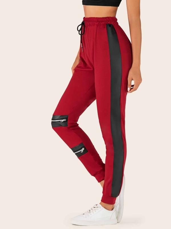 Tape Side Zipper Drawstring Waist Pants, Juliana