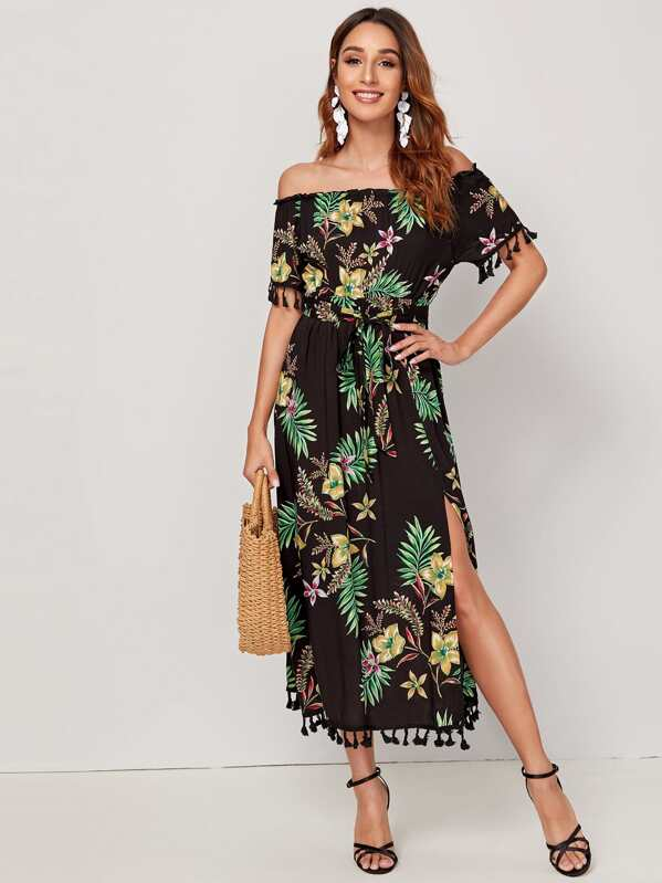 Tropical Off Shoulder Split Thigh Fringe Detail Dress, Gabi B