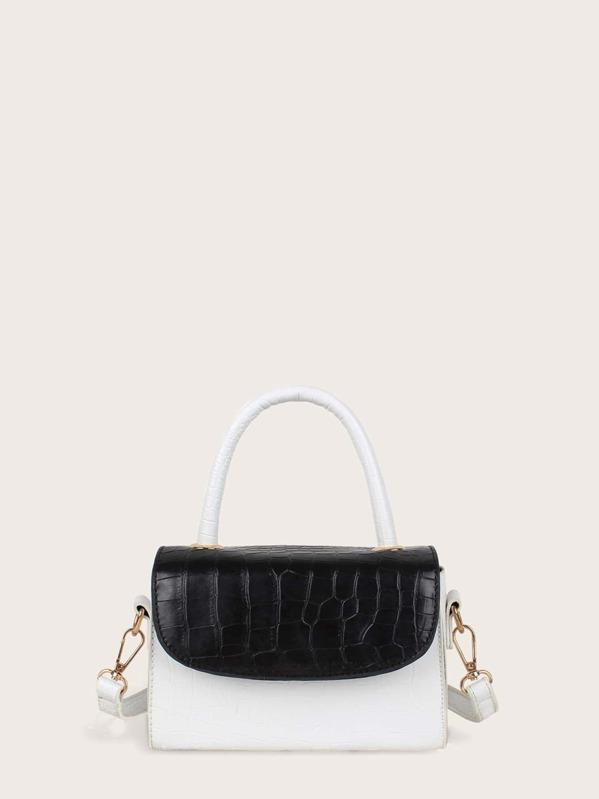 Two Tone Croc Embossed Flap Satchel Bag