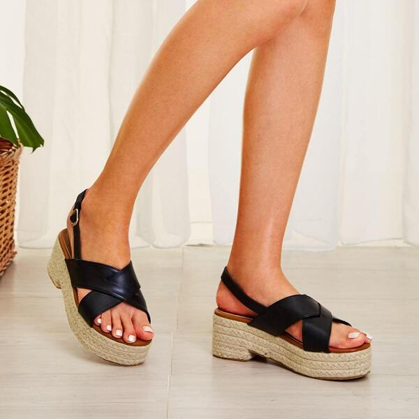Cross Strap Slingback Espadrille Wedges