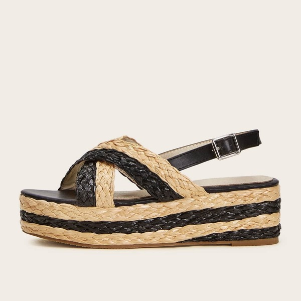 Two Tone Slingback Woven Wedges