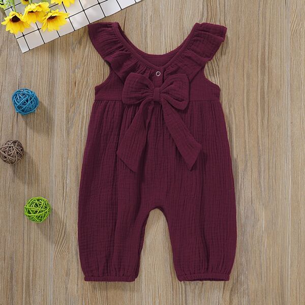 Baby Girl Bow Front Ruffle Trim Jumpsuit