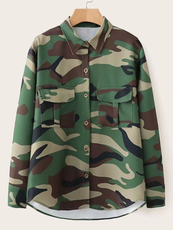 Camo Print Double Pocket Curved Hem Blouse, null