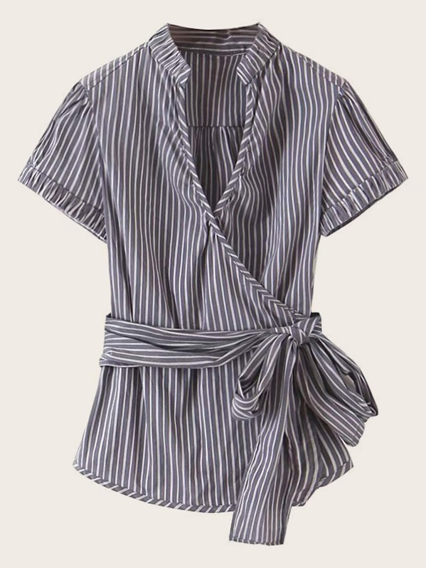 Surplice Roll Cuff Striped Self Belted Blouse, null