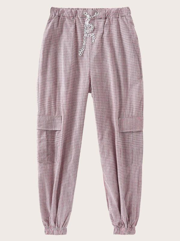 Chain Waist Pocket Plaid Pants, null
