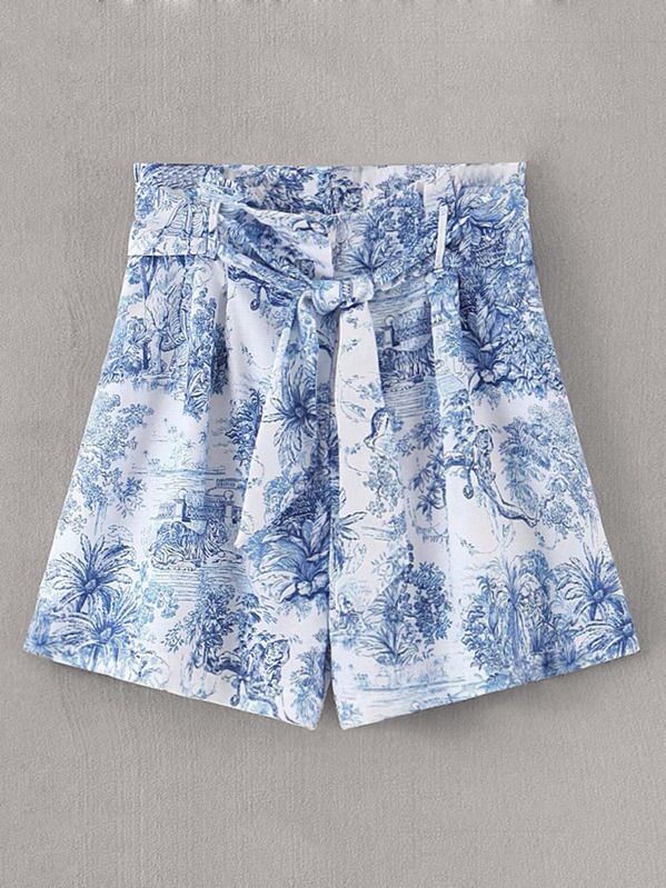 Scenic Printed Belted Wide Leg Shorts, null