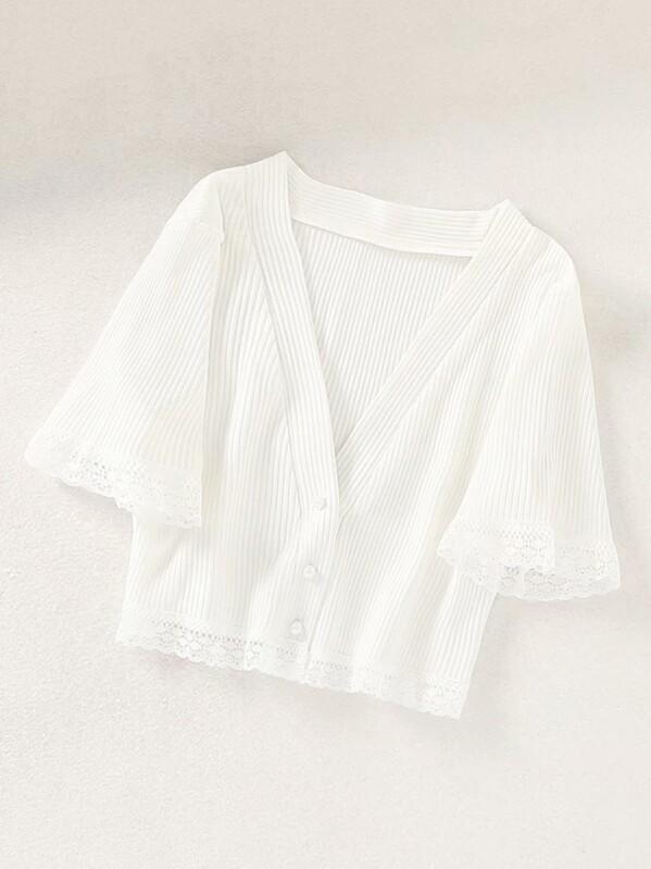 Contrast Lace Trim Button Front Rib-Knit Crop Top