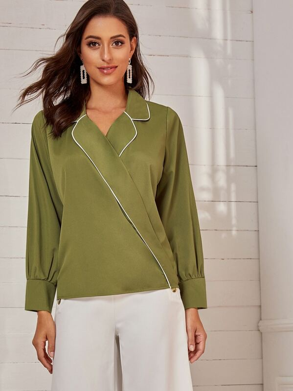 Contrast Piping Trim Surplice Front Blouse, Mary P.
