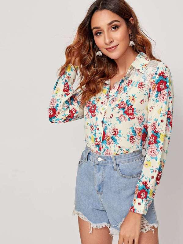 Floral Print Lace Panel Shoulder Blouse, Gabi B