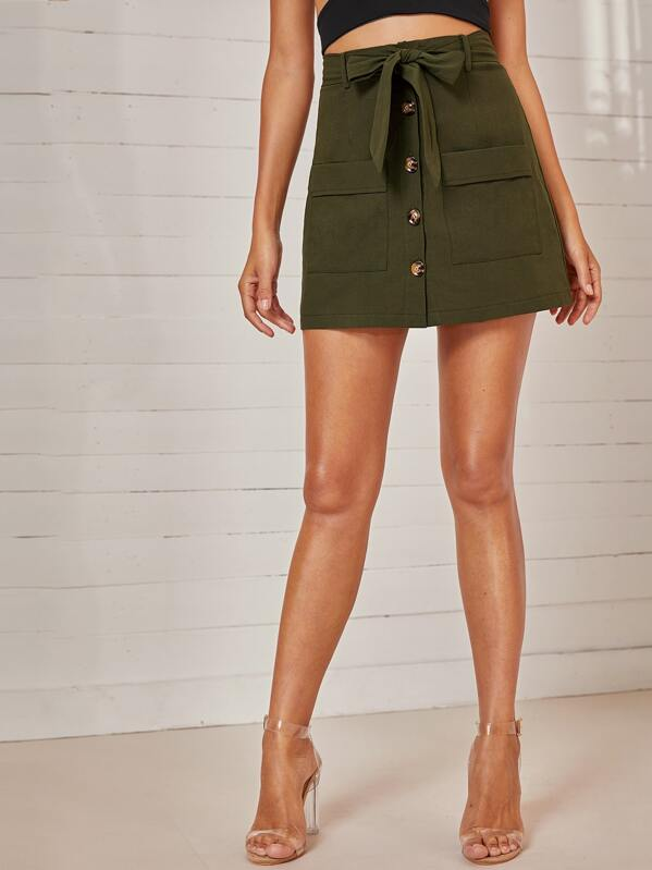 Button Front Self Tie Cargo Skirt, Mary P.