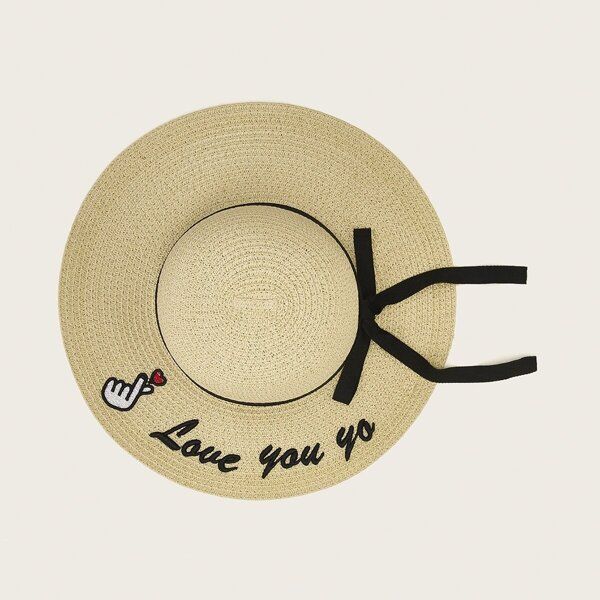 Toddler Girls Bow Knot Decor Floppy Hat