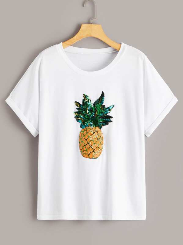 Contrast Sequin Pineapple Pattern Tee, null