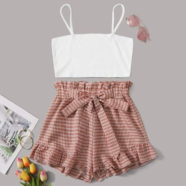 Solid Cami Top With Gingham Tie Front Paperbag Shorts, Multicolor
