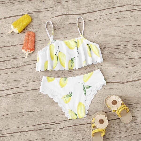Girls Lemon Print Scallop Trim Bikini Set